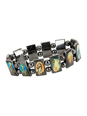 Hämatit-Armband mit Heiligenbildchen