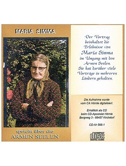 Maria Simma spricht über die Armen Seelen - CD