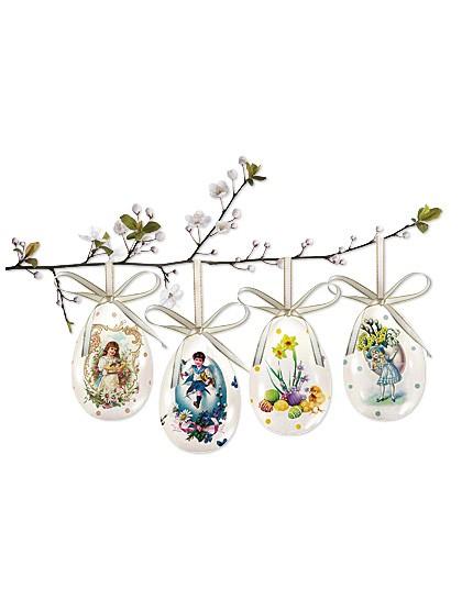 Hübsche Keramik-Ostereier mit nostalgischen Motiven - 4er Set