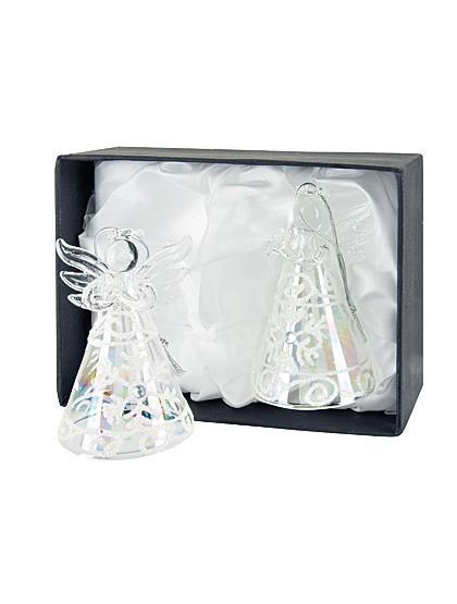 Betende Engel aus Glas - weiß