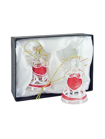 2 Engel aus transparentem Glas - rot