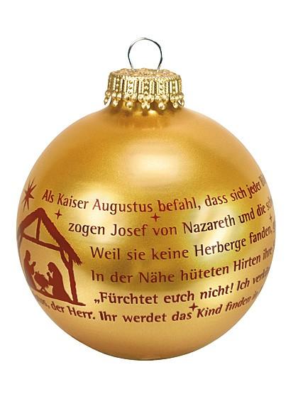 Christbaumkugel aus goldenem Glas