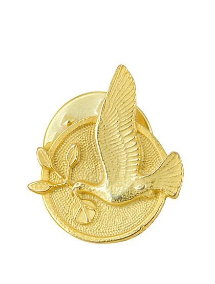 Friedenstaube als Anstecker in Gold