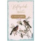 Zwölf Postkarten mit farbigen Vogelillustrationen